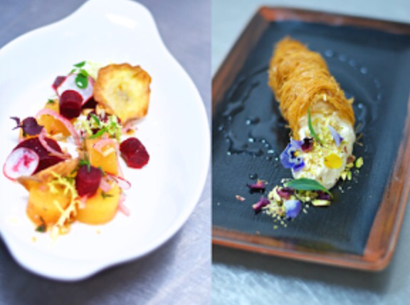 Heritage Beet Salad and Knefeh Cone
